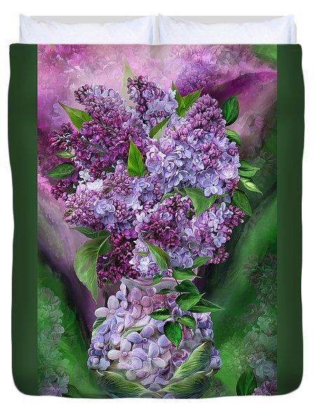 Lilacs In Lilac Vase Duvet Cover by Carol Cavalaris