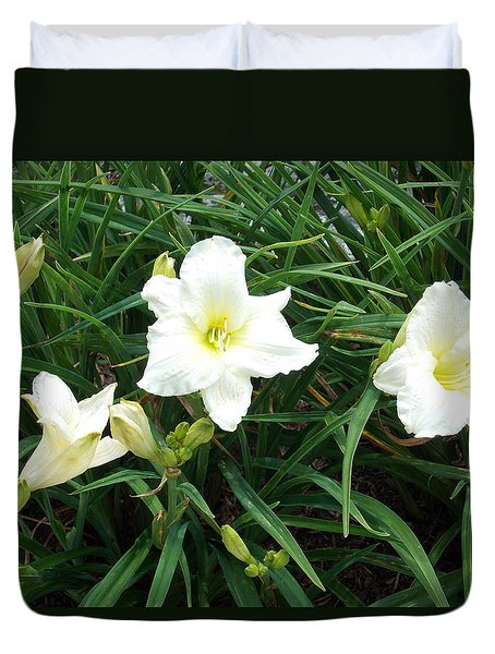 White Lilies Duvet Cover by Catherine Gagne