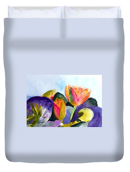 Lilies Of The Water Duvet Cover by Beverley Harper Tinsley