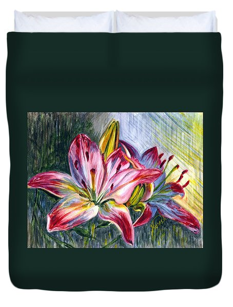 Duvet Cover featuring the painting Lilies Twin by Harsh Malik