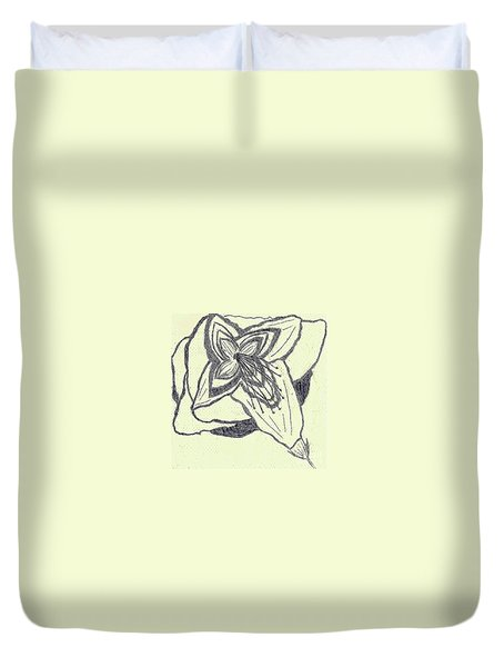 Duvet Cover featuring the drawing Lilly Artistic Doodling Drawing by Joseph Baril