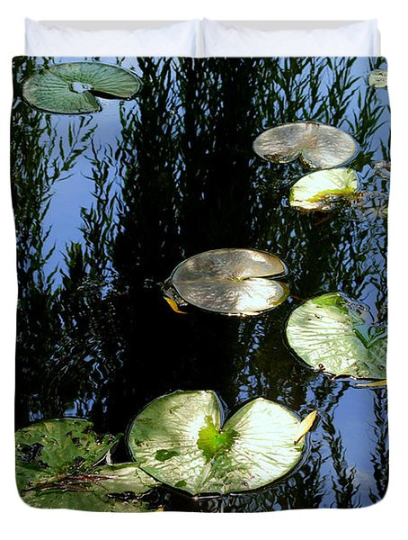 Lilly Pad Reflection Duvet Cover by Frozen in Time Fine Art Photography