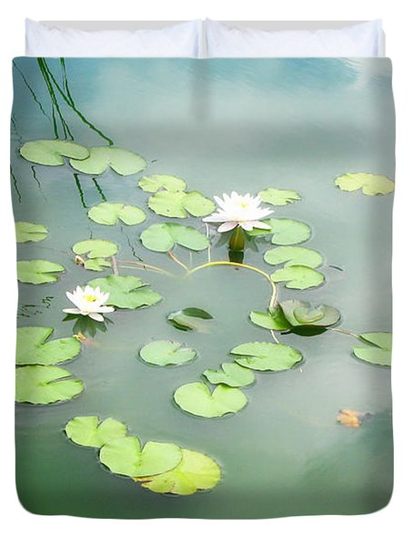 Duvet Cover featuring the photograph Lilly Pads by Erika Weber