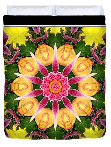 Lily And Chrysanthemums Flower Kaleidoscope Duvet Cover by Rose Santuci-Sofranko