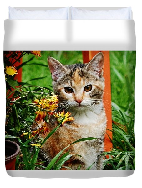 Duvet Cover featuring the photograph Lily Garden Cat by VLee Watson