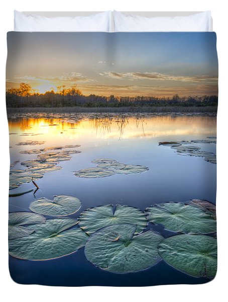 Lily Pads In The Glades Duvet Cover by Debra and Dave Vanderlaan