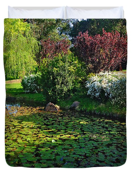 Lily Pond And Colorful Gardens Duvet Cover by Kaye Menner