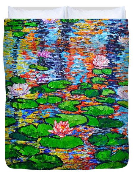 Lily Pond Colorful Reflections Duvet Cover