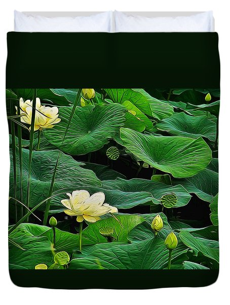 Lily Pond Duvet Cover by Julie Grace