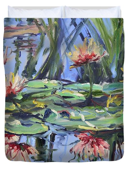 Lily Pond Reflections Duvet Cover by Donna Tuten