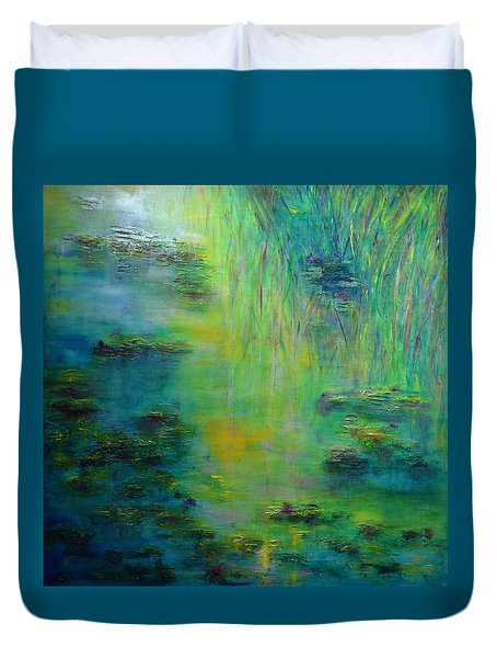 Lily Pond Tribute To Monet Duvet Cover