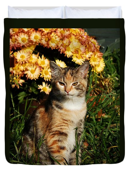 Lily With Harvest Mums Duvet Cover by VLee Watson