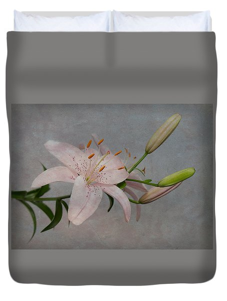 Pink Lily With Texture Duvet Cover
