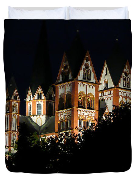 Limburg Cathedral At Night Duvet Cover by Jenny Setchell