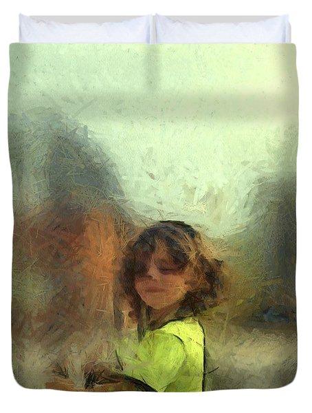 Lime Chalk Figure Little Boy Custom Portrait Commission Duvet Cover