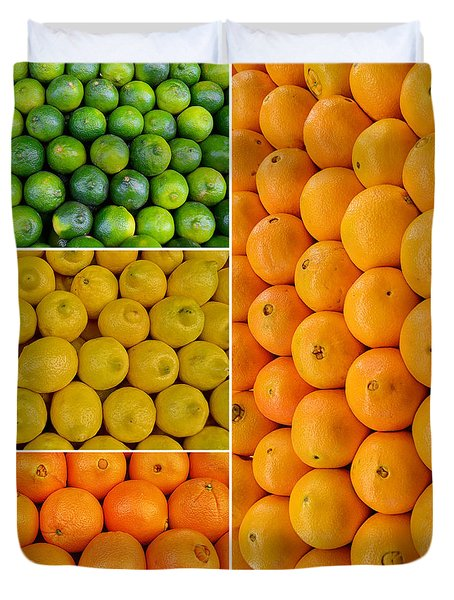 Limes Lemons Oranges Duvet Cover by Sabine Jacobs