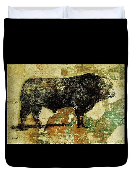 French Limousine Bull 11 Duvet Cover by Larry Campbell