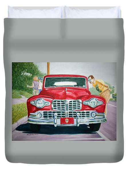 Lincoln In Red Duvet Cover by Stacy C Bottoms