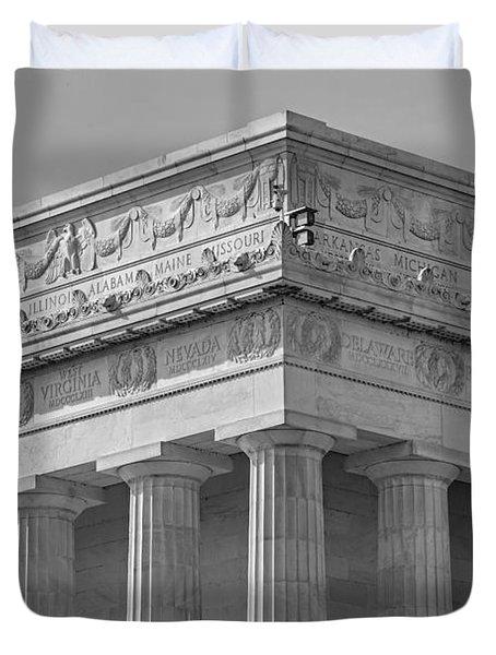 Lincoln Memorial Columns Bw Duvet Cover by Susan Candelario