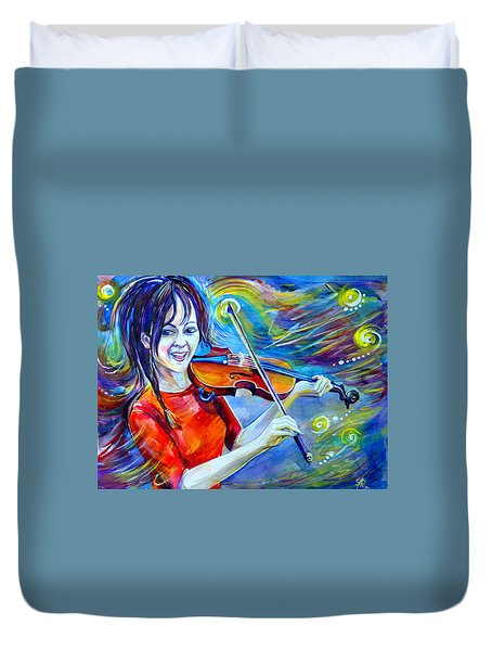 Lindsey Stirling Magic Duvet Cover by Anna  Duyunova