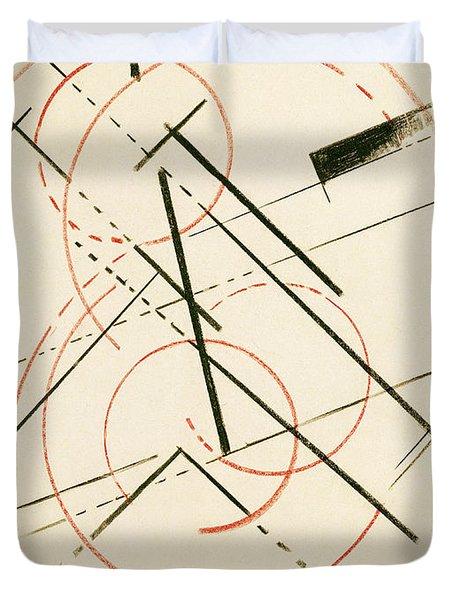 Linear Composition Duvet Cover by Lyubov Sergeevna Popova