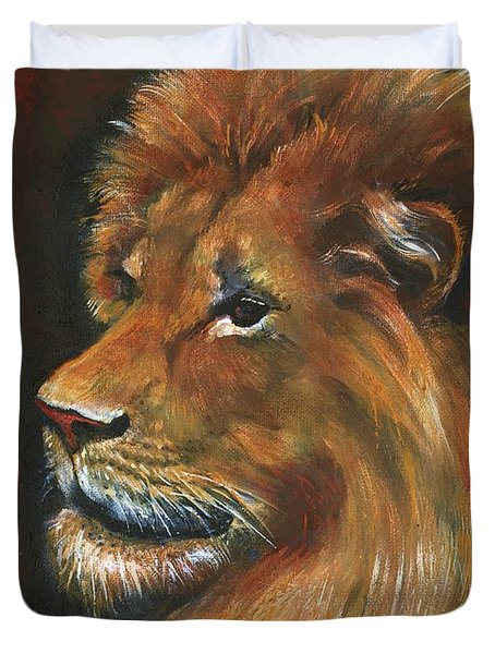 Duvet Cover featuring the painting Lion by Alga Washington