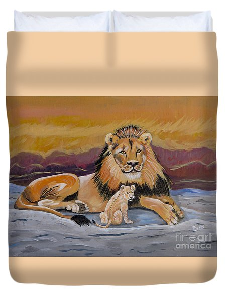 Duvet Cover featuring the painting Lion And Cub by Phyllis Kaltenbach