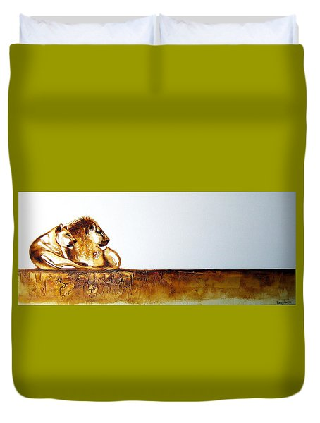Lion And Lioness - Original Artwork Duvet Cover