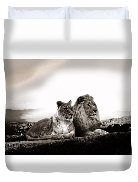 Lion Couple In Sunset Duvet Cover by Christine Sponchia