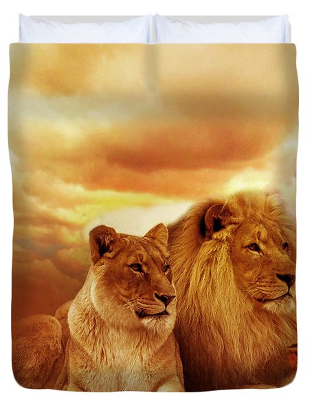 Lion Couple Without Frame Duvet Cover by Christine Sponchia