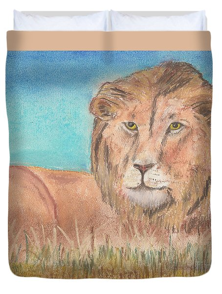 Duvet Cover featuring the pastel Lion by David Jackson