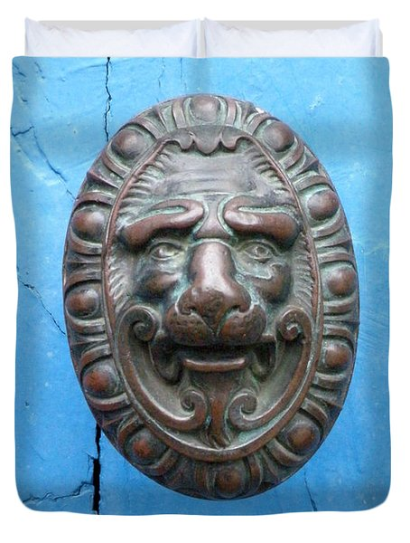 Lion Face Door Knob Duvet Cover by Lainie Wrightson