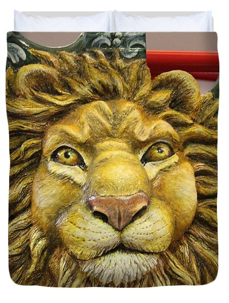 Lion Face Guitar Duvet Cover by Cynthia Snyder