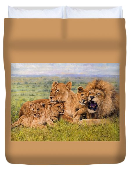 Lion Family Duvet Cover by David Stribbling