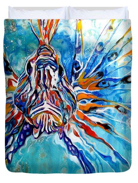 Lion Fish Blue Duvet Cover