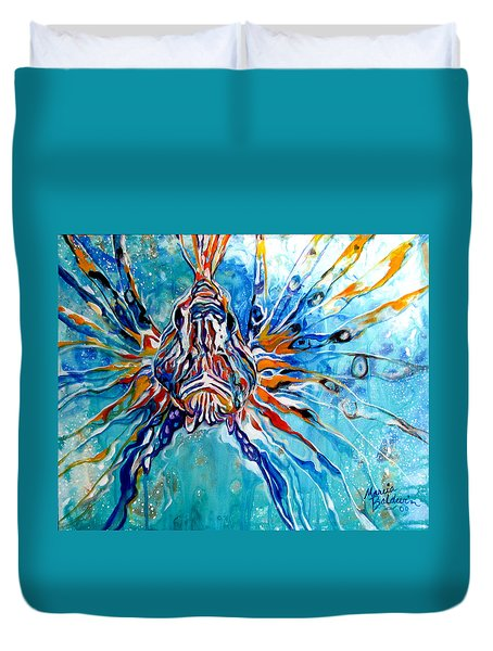 Lion Fish Blue Duvet Cover