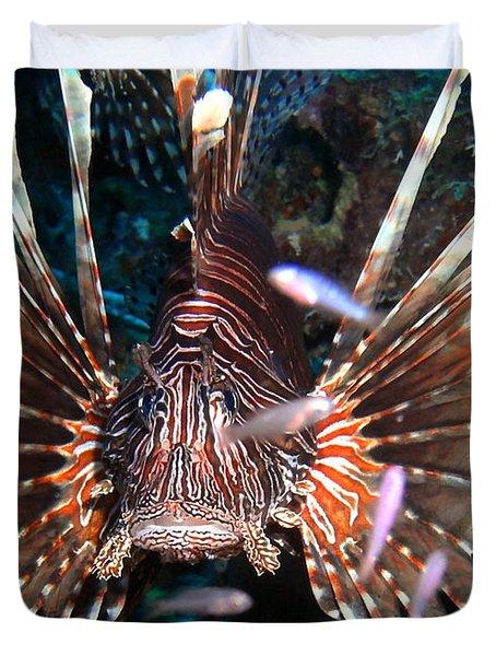 Duvet Cover featuring the photograph Lion Fish - En Garde by Amy McDaniel