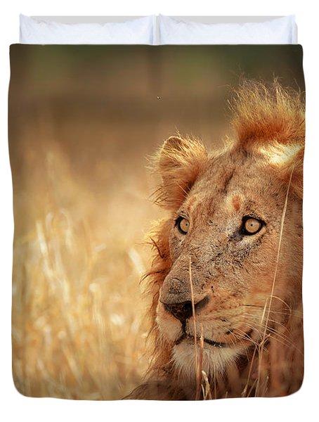 Lion In Grass Duvet Cover