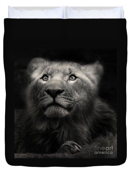 Lion In The Dark Duvet Cover