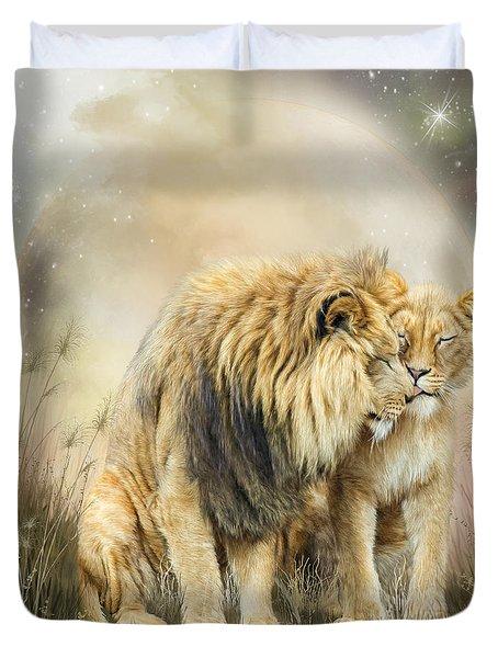 Lion Kiss Duvet Cover by Carol Cavalaris