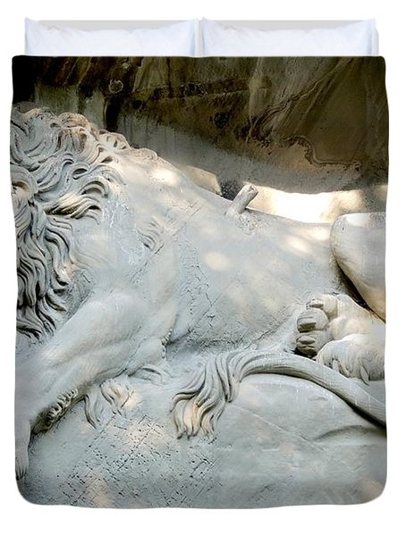 Lion Monument In Lucerne Switzerland Duvet Cover