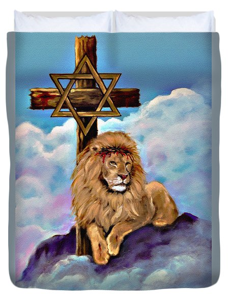 Lion Of Judah At The Cross Duvet Cover