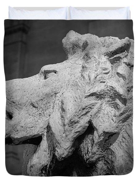 Lion Of The Art Institute Chicago B W Duvet Cover