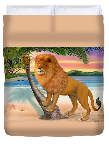 Lion On The Beach Duvet Cover by Glenn Holbrook