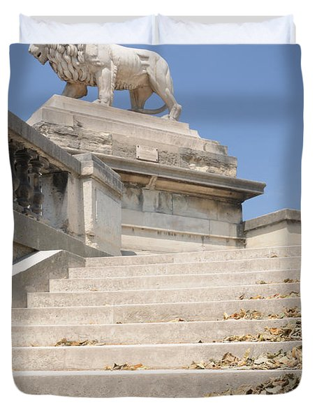 Duvet Cover featuring the photograph Lion Tuileries Garden Paris by Jeremy Voisey