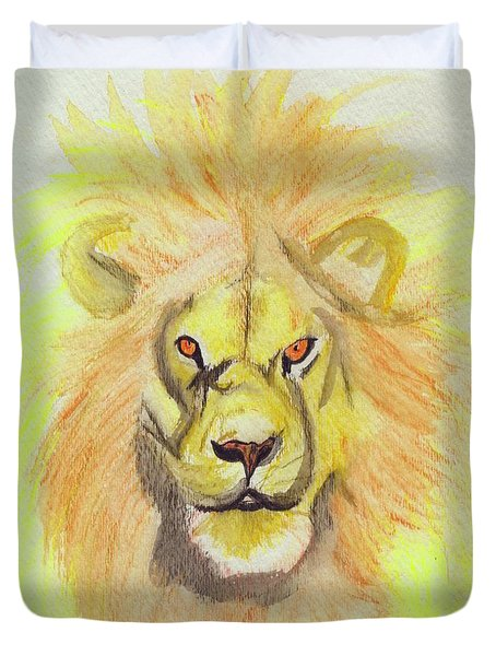 Lion Yellow Duvet Cover by First Star Art