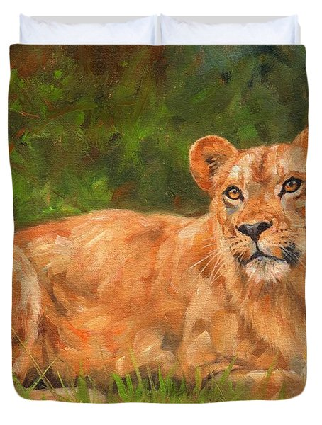Lioness Duvet Cover by David Stribbling