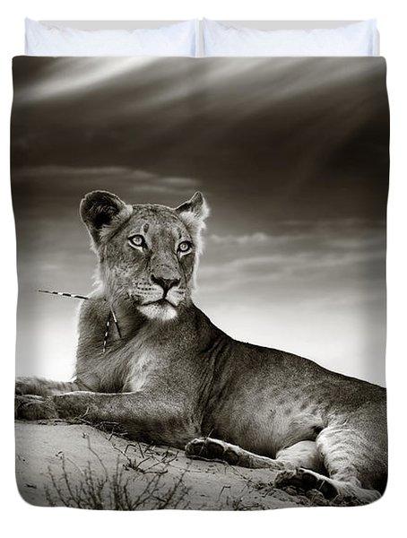 Lioness On Desert Dune Duvet Cover
