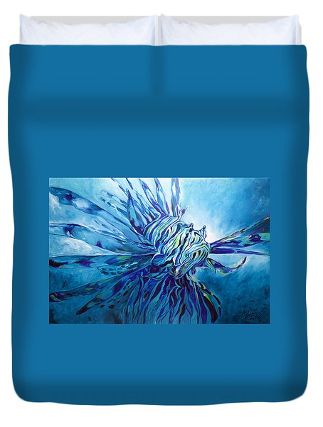 Lionfish Abstract Blue Duvet Cover