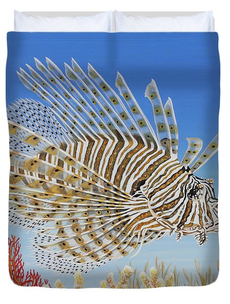 Duvet Cover featuring the painting Lionfish And Coral by Jane Girardot